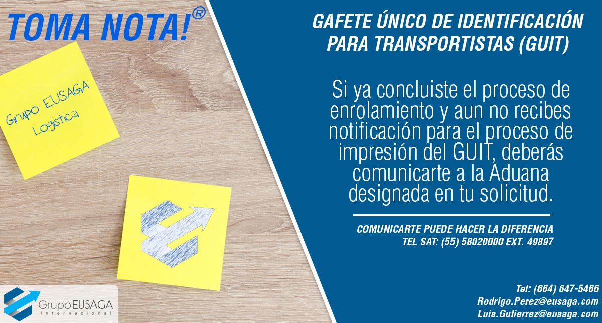 GAFETE ÚNICO DE IDENTIFICACIÓN PARA TRANSPORTISTAS (GUIT)