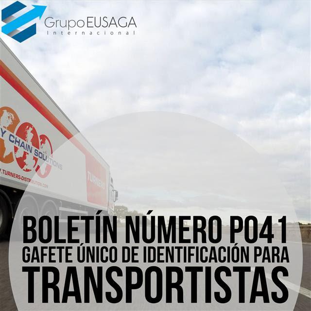 GAFETE ÚNICO DE IDENTIFICACIÓN PARA TRANSPORTISTA