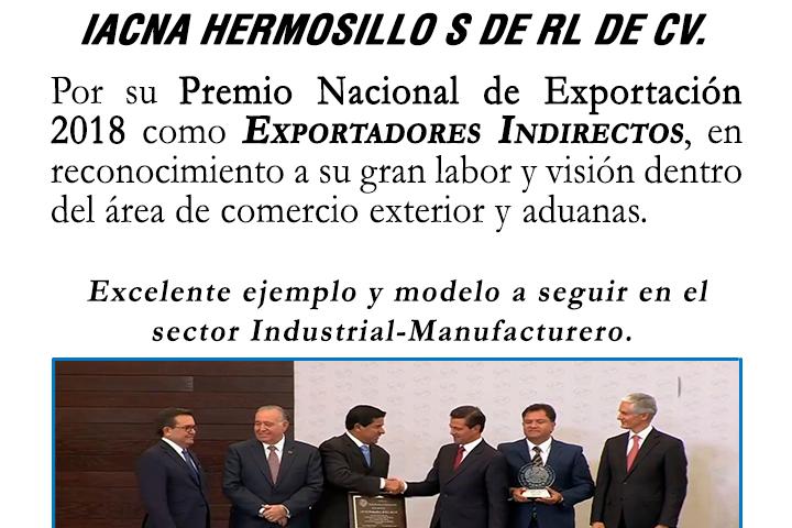 Premio Nacional de Exportación 2018 - Exportadores Indirectos